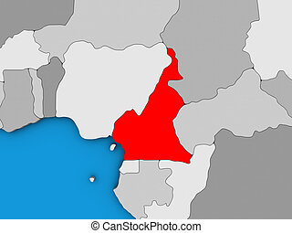 Cameroon on 3D map