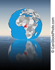 Cameroon on globe in water
