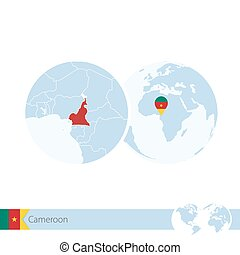 Cameroon on world globe with flag and regional map of...
