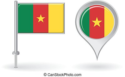 Cameroon pin icon and map pointer flag. Vector