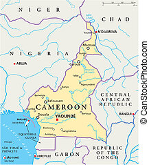 Cameroon Political Map - Political map of Cameroon with...