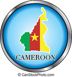 Cameroon Round Button - Vector Illustration for Cameroon,...