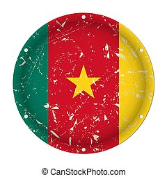 Cameroon - round metal scratched flag, screw holes