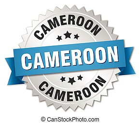 Cameroon round silver badge with blue ribbon