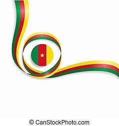 Cameroon wavy flag background. Vector illustration. -...