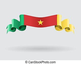 Cameroon wavy flag. Vector illustration.
