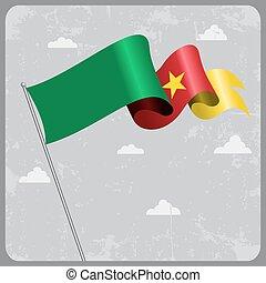 Cameroon wavy flag. Vector illustration. - Cameroon flag...