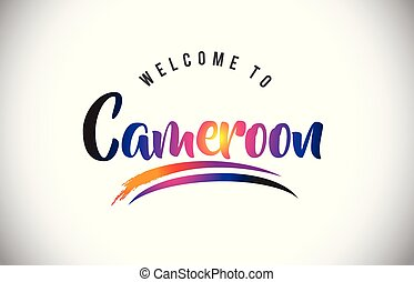 Cameroon Welcome To Message in Purple Vibrant Modern Colors.