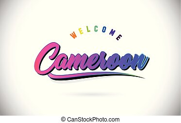 Cameroon Welcome To Word Text with Creative Purple Pink Handwritten Font and Swoosh Shape Design Vector.