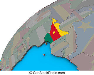 Cameroon with flag on 3D globe
