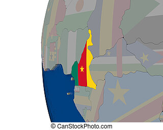 Cameroon with national flag
