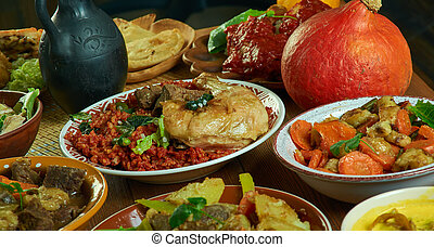 Cameroonian national cuisine, Traditional assorted African dishes, Top view.