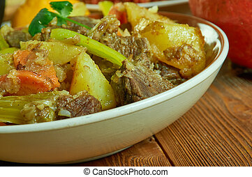 Hot pot potatoes, Cameroonian national cuisine, Traditional assorted African dishes, Top view.