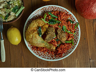 Jollof Rice, one-pot rice dish, Cameroonian national cuisine, Traditional assorted African dishes, Top view.