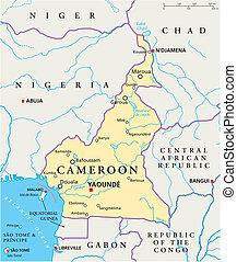camerun, politico, mappa