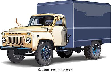 camião, isolado, retro