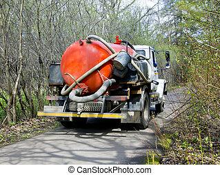 camión, aguas residuales