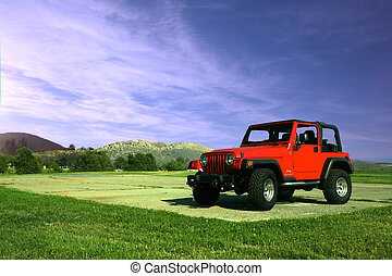 camión, aire libre, en, naturaleza, con, un, hermoso, cielo