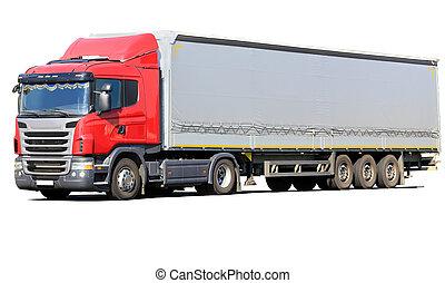 camión, aislado, rojo