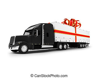 camión, aislado, vista, black-red, presente, frente