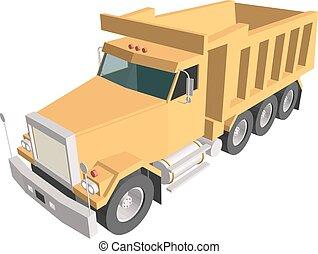 camión, amarillo, basurero