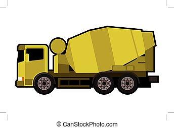 camión, amarillo, batidora