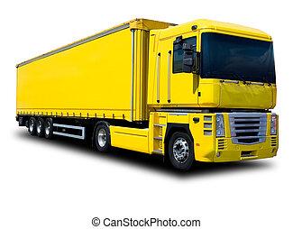 camión, amarillo, semi