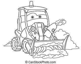 camión, arado, nieve