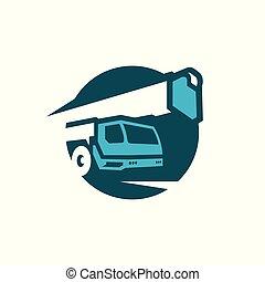 camión, auge, crane.
