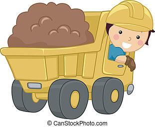 camión, basurero, niño
