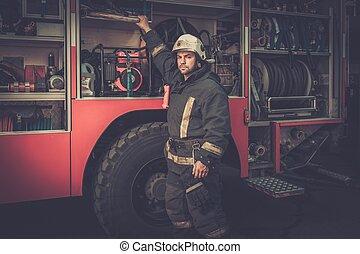 camión, bombero, equipo, toma, firefighting