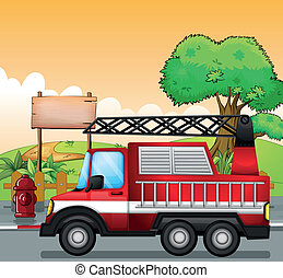 camión, calle, signboard, rojo, utilidad
