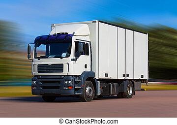 camión, carga, camino
