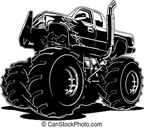 camión, caricatura, monstruo