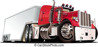 camión, caricatura, semi