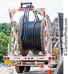 camión, carretes, cable