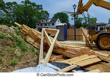 camión, carretilla elevadora, auge, techo, levantado, hogar, de madera, braguero, ser, nuevo