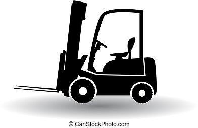 camión, carretilla elevadora