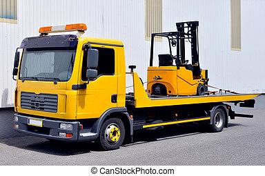 camión, carretilla elevadora, transporte