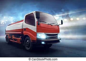 camión, con, depósito de gasolina, por, el, camino de asfalto