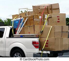 camión, con, mudanza, cajas