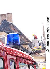 camión de bomberos, azul, luz intermitente