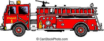 camión de bomberos, escalera