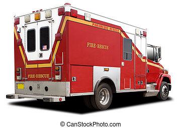 camión de fuego, rescate, ambulancia