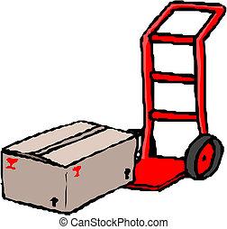 camión de mano, con, caja de cartón
