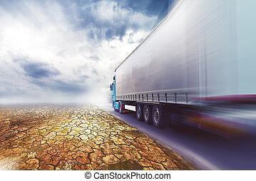 camión, desierto, camino, exceso de velocidad
