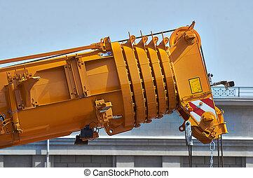 camión, detalles, crane., auge