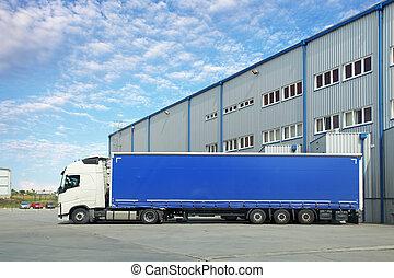 camión, en, almacén