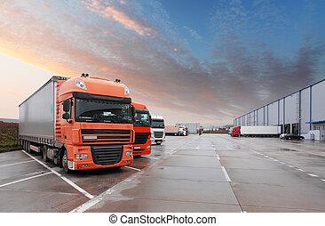 camión, en, almacén, -, carga, transporte