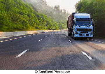 camión, en, carretera